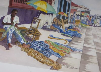 Fishing Nets in Ghana; Watercolor, 1998, 24x18 inches