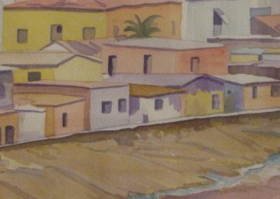 Village in Ghana (Detail); Watercolor, 1998, 24x18 inches